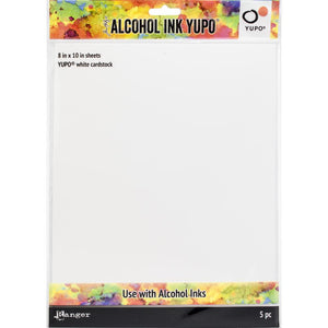 Ranger - Alcohol Ink Yupo Paper - White cardstock (8 x 10 inch - 5 Sheets)