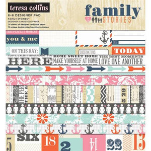 Teresa Collins Designs - Family Stories - Designer Paper Pad (6 x 6 inch)