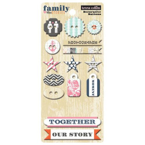 Teresa Collins Designs - Family Stories - Chipboard Buttons