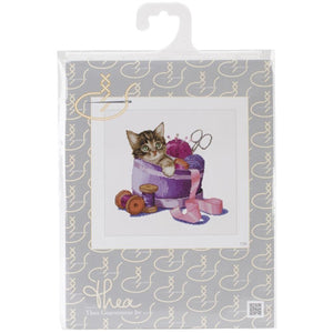 Thea Gouverneur - Counted Cross Stitch Kits - Sewing Basket Kitten