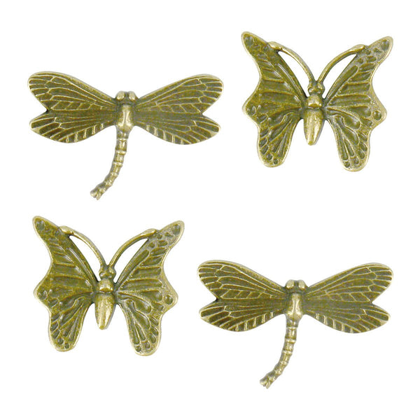 Charms - LQ - Large Butterfly & Dragonfly Metal Charms (4pcs)