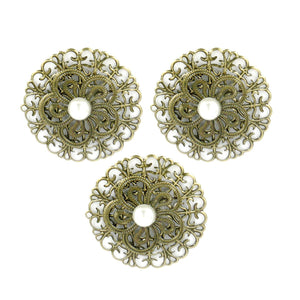 Charms - LQ - Ornate Metal flowers (3pcs)