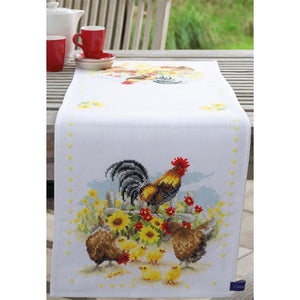 Vervaco - Counted Cross Stitch Kit (on Aida) - Cock-A-Doodle-Doo Runner
