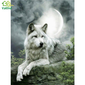 HCS 5D DIY Diamond Embroidery Kit - Moonlight Wolf | Hobby Craft and Scrap
