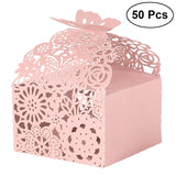 50PCS Hollow Die-Cut Butterfly Favor Boxes Wedding Candy Boxes Wedding Gift Boxes