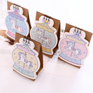 Kawaii 2019 Unicorn Crystal Ball Mini Coil Table Calendars