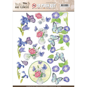 Find It Trading Jeanine's Art 3D Push Out - Butterflies and Flowers Butterflies on Blue Flowers