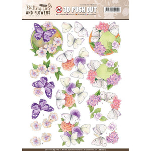 Find It Trading Jeanine's Art 3D Push Out - Butterflies and Flowers White Butterflies