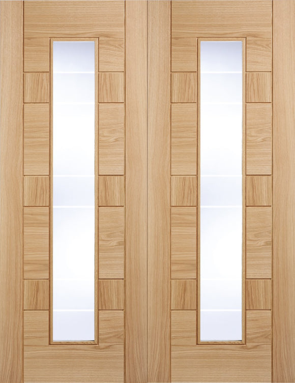 LPd Internal Oak Edmonton Rebated Door Pairs Clear Glass with Frosted Lines Pre-Finished