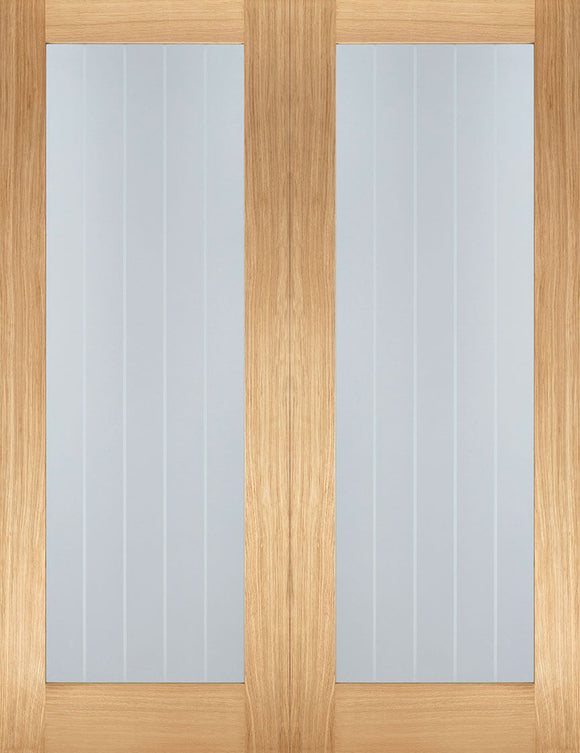 LPD Internal Oak Mexicano Pattern 10 Rebated Door Pairs Glazed Unfinished