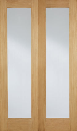 LPD Internal Oak Pattern 20 Glazed Rebated Door Pairs Unfinished