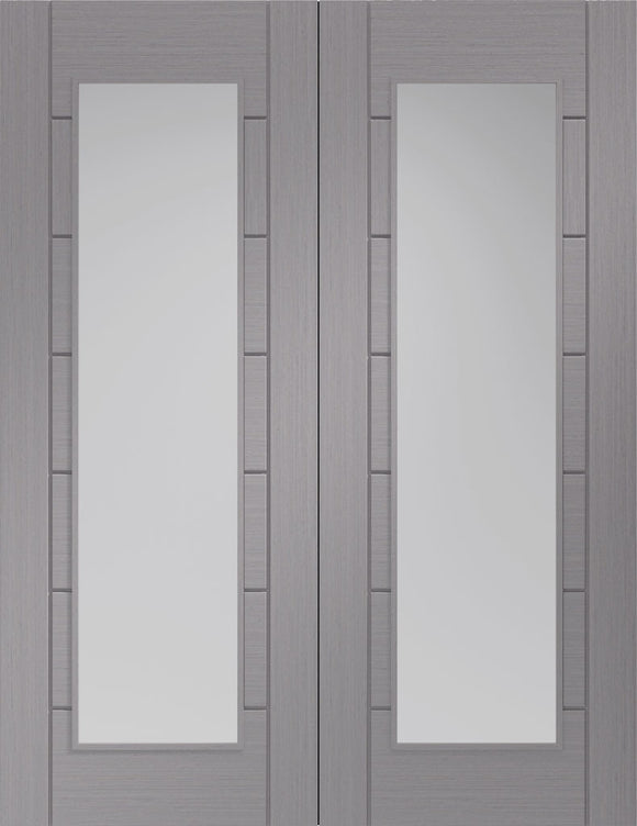 XL Joinery Internal Palermo Light Grey with Clear Glass Rebated Door Pairs