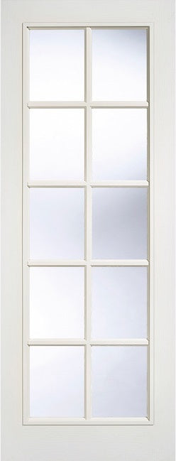 LPD Internal SA 10L Clear Glass White Finish 10 Light Glazed Door