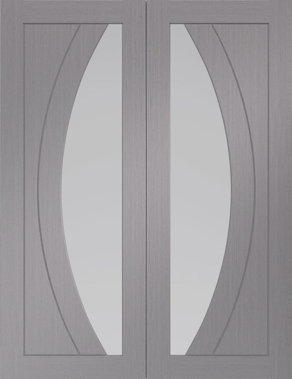 XL Joinery Internal Salerno Light Grey with Clear Glass Rebated Door Pairs
