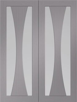 XL Joinery Internal Verona Light Grey with Clear Glass Rebated Door Pairs