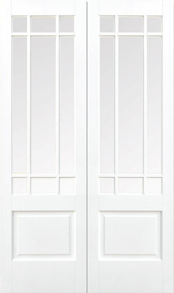 LPD Internal Downham Clear Bevelled Glass Rebated Door Pairs White-Door Store Rotherham