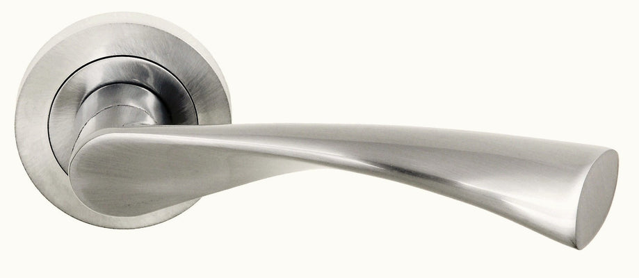 Atlantic Handles Colorado Status Lever on Round Rose in a Satin Nickel Finish Pair of Door Handles-Door Store Rotherham