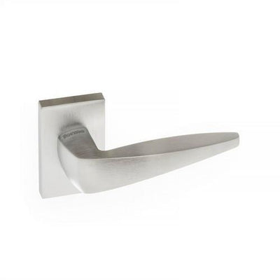 Atlantic Handles Foglia Forme Designer Lever on Minimal Square Rose in a Satin Chrome Finish Pair of Door Handles-Door Store Rotherham