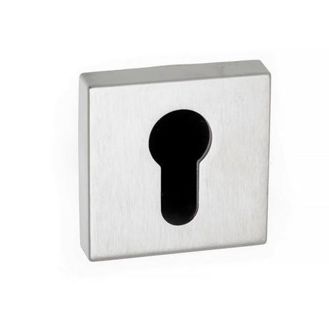 Atlantic Handles Forme Euro Escutcheon on Minimal Square Rose in a Satin Chrome Finish-Door Store Rotherham