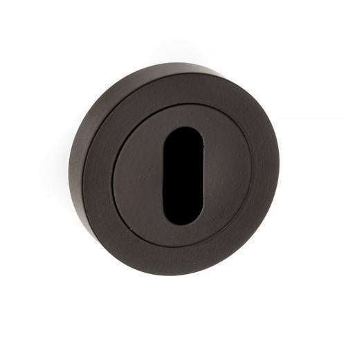 Atlantic Handles Forme Key Escutcheon on Contempo Round Rose in a Matt Black Finish-Door Store Rotherham