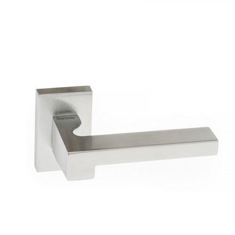 Atlantic Handles Ginevra Forme Designer Lever on Minimal Square Rose in a Satin Chrome Finish Pair of Door Handles-Door Store Rotherham