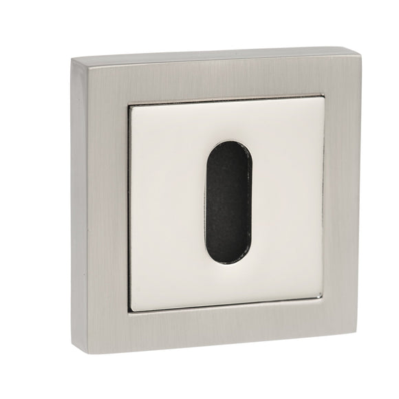 Atlantic Handles Senza Pari Key Escutcheon to Suit Square Rose in a Satin Nickel & Polished Nickel Finish-Door Store Rotherham