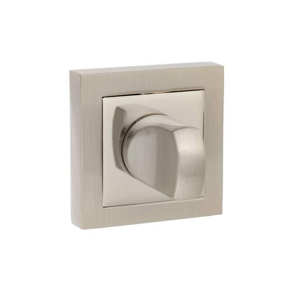 Atlantic Handles Senza Pari WC Turn and Release to Suit Square Rose in a Satin Nickel & Polished Nickel Finish-Door Store Rotherham