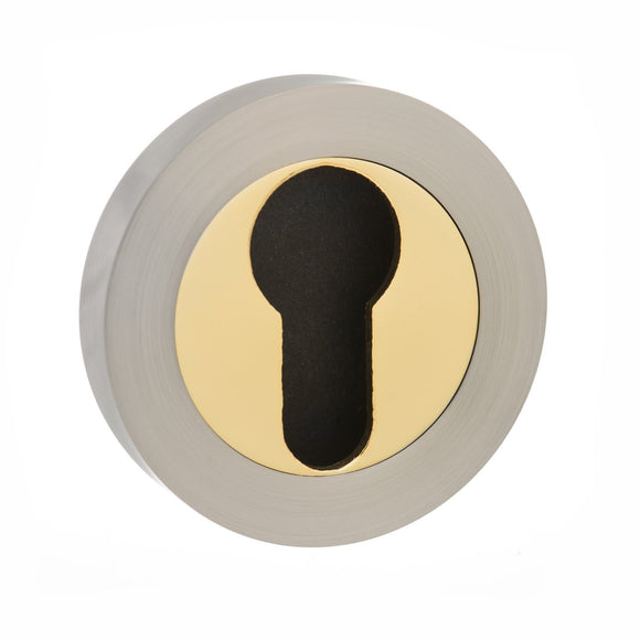 Atlantic Handles Status Euro Escutcheon in a Satin Nickle & Polished Brass Finish-Door Store Rotherham