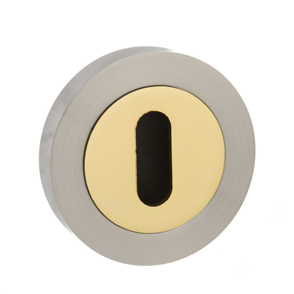 Atlantic Handles Status Key Escutcheon in a Satin Nickle & Polished Brass Finish-Door Store Rotherham