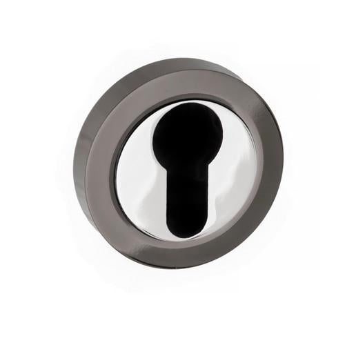 Atlantic Handles Status Round Rose Euro Escutcheon in a Black Nickel & Polished Chrome Finish-Door Store Rotherham