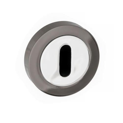 Atlantic Handles Status Round Rose Key Escutcheon in a Black Nickel & Polished Chrome Finish-Door Store Rotherham