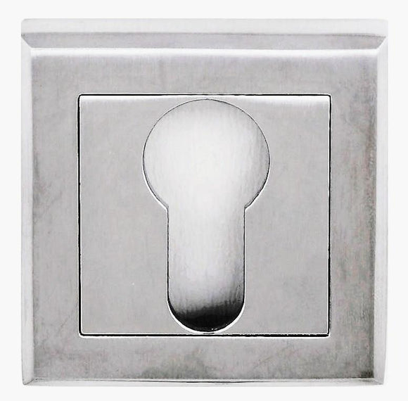 Atlantic Handles Status Square Rose Euro Escutcheon in a Satin Chrome Finish-Door Store Rotherham
