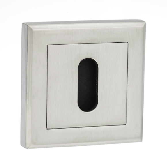 Atlantic Handles Status Square Rose Key Escutcheon in a Satin Chrome Finish-Door Store Rotherham