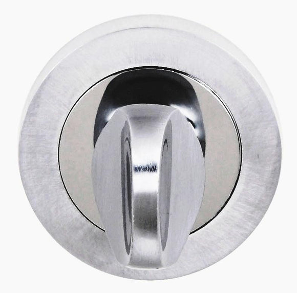 Atlantic Handles Status WC Turn and Release on Round Rose in a Satin Chrome & Polished Chrome-Door Store Rotherham