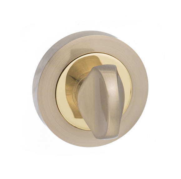 Atlantic Handles Status WC Turn and Release on Round Rose in a Satin Nickle & Polished Brass Finish-Door Store Rotherham
