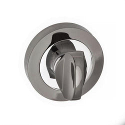 Atlantic Handles Status WC Turn on Round Rose in a Black Nickel & Polished Chrome Finish-Door Store Rotherham