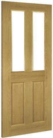 Deanta Doors Internal Bury Oak Pre-Finished Clear Bevelled Glass Door-Door Store Rotherham