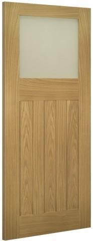 Deanta Doors Internal Cambridge Oak Un-Finished Glazed Door-Door Store Rotherham