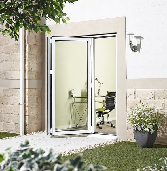 LPD External 1.8m ALUVU (6ft) Aluminium Bi-Fold Door Set in a White Finish (Right Hand Opening)-Door Store Rotherham