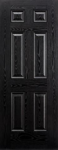 LPD External GRP Black & White Colonial 6 Panel Door-Door Store Rotherham