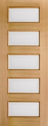 LPD Internal Oak Contemporary 5 Light Frosted Glazed Pre-Finished Door-Door Store Rotherham