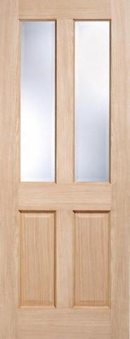 LPD Internal Oak Richmond with Clear Bevelled Glass Non-Raised Mouldings Door-Door Store Rotherham