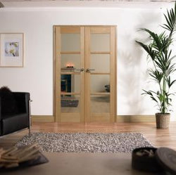 LPD Internal Oslo Oak 4 Light Glazed Pre-Finished Room Divider-Door Store Rotherham