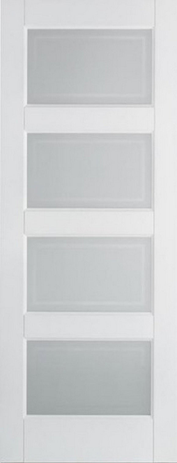 LPD Internal White Contemporary 4 Panel Frosted Glass Door-Door Store Rotherham
