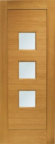 XL Joinery External Pre-Finished Turin Oak Door with Obscure Glass-Door Store Rotherham