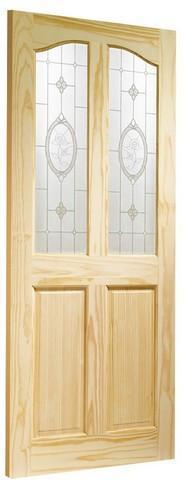 XL Joinery Internal Clear Pine Rio with Crystal Rose Glass Door-Door Store Rotherham