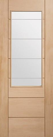 XL Joinery Internal Oak Palermo 2XG with Clear Etched Glass Door-Door Store Rotherham
