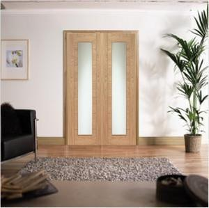 XL Joinery Internal Oak Palermo Clear Glass Door Pair-Door Store Rotherham