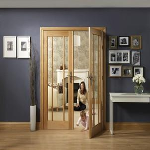 XL Joinery Internal Oak Worcester Door Pair with Clear Glass Door-Door Store Rotherham