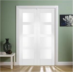 XL Joinery Internal White Primed Shaker Clear Glass Door Pair-Door Store Rotherham